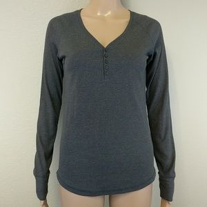 Gray Henley Button Up Front Long Sleeve Small